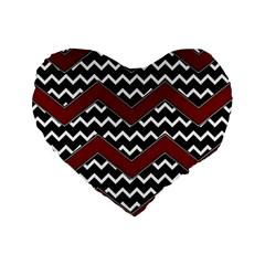 Black White Red Chevrons 16  Premium Flano Heart Shape Cushion