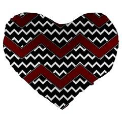 Black White Red Chevrons 19  Premium Flano Heart Shape Cushion