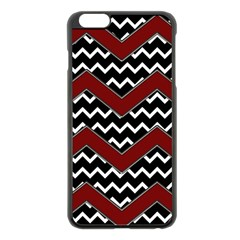 Black White Red Chevrons Apple Iphone 6 Plus Black Enamel Case