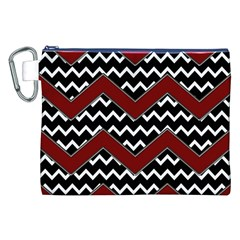 Black White Red Chevrons Canvas Cosmetic Bag (XXL)