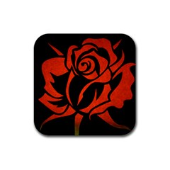 Red Rose Etching On Black Drink Coasters 4 Pack (square)
