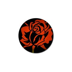 Red Rose Etching On Black Golf Ball Marker 10 Pack