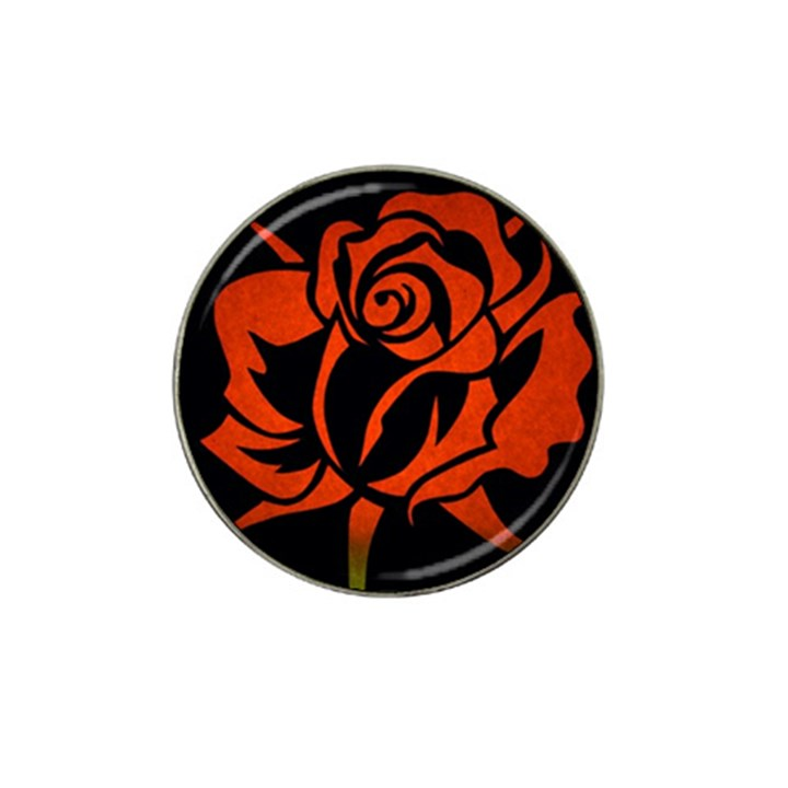 Red Rose Etching On Black Golf Ball Marker 4 Pack (for Hat Clip)