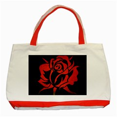 Red Rose Etching On Black Classic Tote Bag (red)