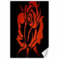 Red Rose Etching On Black Canvas 20  x 30  (Unframed)