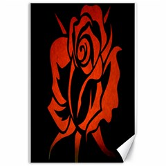 Red Rose Etching On Black Canvas 24  X 36  (unframed)