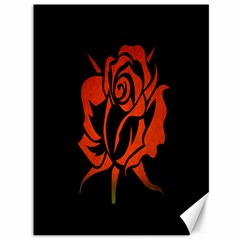 Red Rose Etching On Black Canvas 36  X 48  (unframed)