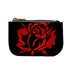 Red Rose Etching On Black Coin Change Purse