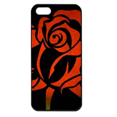 Red Rose Etching On Black Apple Iphone 5 Seamless Case (black)