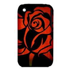 Red Rose Etching On Black Apple iPhone 3G/3GS Hardshell Case (PC+Silicone)