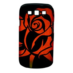 Red Rose Etching On Black Samsung Galaxy S Iii Classic Hardshell Case (pc+silicone)