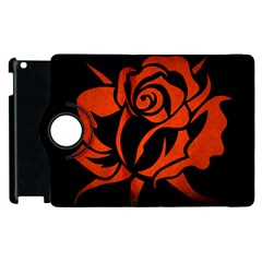 Red Rose Etching On Black Apple iPad 3/4 Flip 360 Case