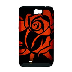 Red Rose Etching On Black Samsung Galaxy Note 2 Hardshell Case (PC+Silicone)