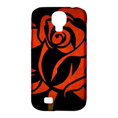 Red Rose Etching On Black Samsung Galaxy S4 Classic Hardshell Case (pc+silicone)