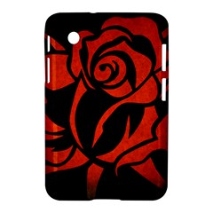 Red Rose Etching On Black Samsung Galaxy Tab 2 (7 ) P3100 Hardshell Case