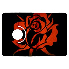 Red Rose Etching On Black Kindle Fire HDX Flip 360 Case