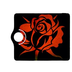 Red Rose Etching On Black Kindle Fire HDX 8.9  Flip 360 Case