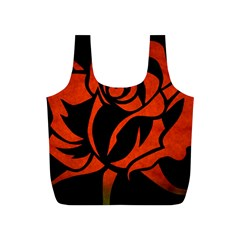 Red Rose Etching On Black Reusable Bag (s)