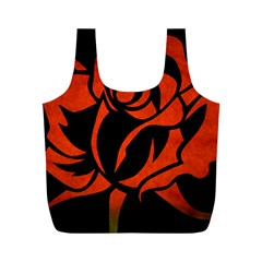 Red Rose Etching On Black Reusable Bag (M)