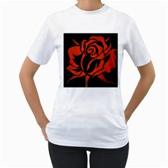 Red Rose Etching On Black Women s T-Shirt (White)