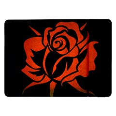 Red Rose Etching On Black Samsung Galaxy Tab Pro 12.2  Flip Case