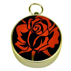 Red Rose Etching On Black Gold Compass