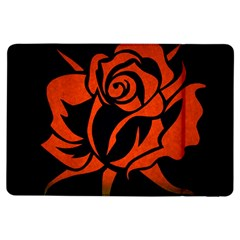 Red Rose Etching On Black Apple iPad Air Flip Case