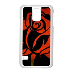 Red Rose Etching On Black Samsung Galaxy S5 Case (white)