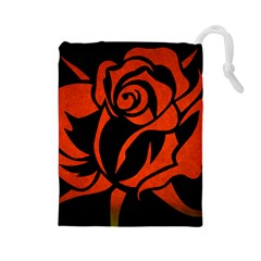 Red Rose Etching On Black Drawstring Pouch (Large)