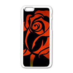 Red Rose Etching On Black Apple iPhone 6 White Enamel Case