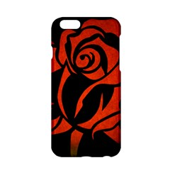 Red Rose Etching On Black Apple iPhone 6 Hardshell Case