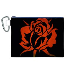Red Rose Etching On Black Canvas Cosmetic Bag (XL)
