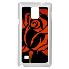 Red Rose Etching On Black Samsung Galaxy Note 4 Case (White)
