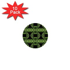 Green Shapes On A Black Background Pattern 1  Mini Button (10 Pack)