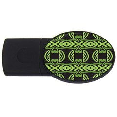 Green Shapes On A Black Background Pattern Usb Flash Drive Oval (2 Gb)