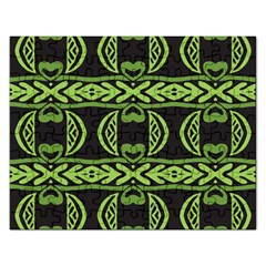 Green Shapes On A Black Background Pattern Jigsaw Puzzle (rectangular)