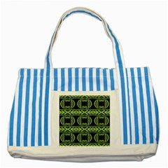 Green Shapes On A Black Background Pattern Striped Blue Tote Bag