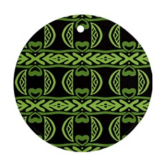 Green Shapes On A Black Background Pattern Round Ornament (two Sides)