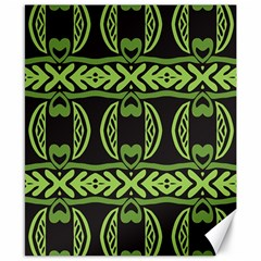 Green Shapes On A Black Background Pattern Canvas 8  X 10