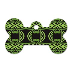 Green Shapes On A Black Background Pattern Dog Tag Bone (one Side)