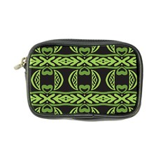 Green Shapes On A Black Background Pattern Coin Purse