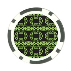 Green Shapes On A Black Background Pattern Poker Chip Card Guard (10 Pack)