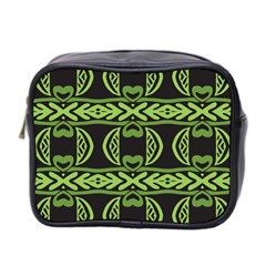 Green Shapes On A Black Background Pattern Mini Toiletries Bag (two Sides)