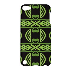 Green Shapes On A Black Background Pattern Apple Ipod Touch 5 Hardshell Case