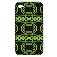 Green Shapes On A Black Background Pattern Apple Iphone 4/4s Hardshell Case (pc+silicone)