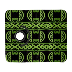 Green shapes on a black background pattern Samsung Galaxy S  III Flip 360 Case