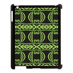 Green Shapes On A Black Background Pattern Apple Ipad 3/4 Case (black)