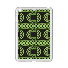 Green shapes on a black background pattern Apple iPad Mini 2 Case (White)