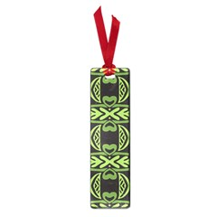 Green Shapes On A Black Background Pattern Small Book Mark