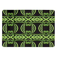 Green shapes on a black background pattern Samsung Galaxy Tab 10.1  P7500 Flip Case